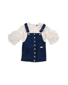 7 For All Mankind - Ruffle Top & Denim Overall Dress Set - Baby