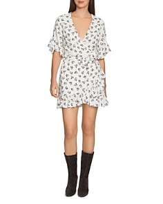 1.STATE - Floral Ruffle Wrap Dress