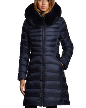 DAWN LEVY Milly Fur Trim Puffer Coat in Abyss