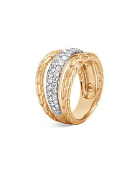JOHN HARDY - 18K Yellow Gold Classic Chain Ring with Diamond Pavé
