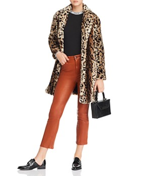 BB DAKOTA - Bradshaw Leopard Print Faux Fur Coat
