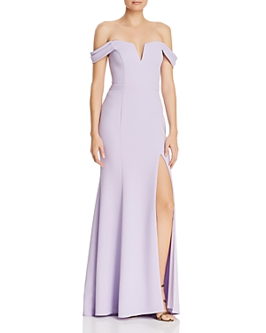 Avery G Off-the-Shoulder Crepe Gown
