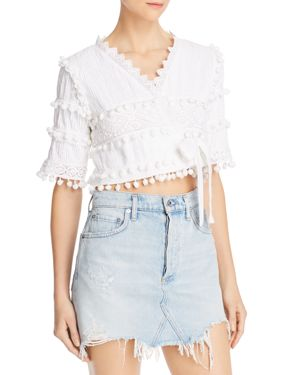 PLACE NATIONALE Belle Rive Pintuck Cropped Wrap Top in White