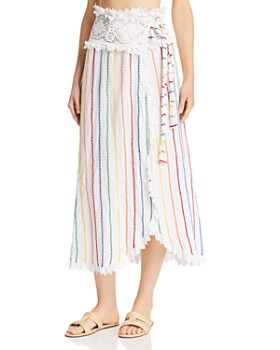 Place Nationale - Porticcio Embroidered Candy Stripe Wrap Maxi Skirt