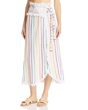 Place Nationale Porticcio Embroidered Candy Stripe Wrap Maxi Skirt
