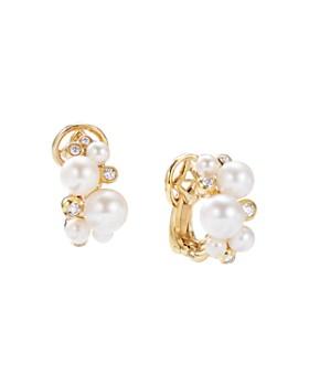 David Yurman - Pearl Cluster Earrings in 18K Yellow Gold with Diamonds