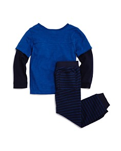 Splendid - Boys' Layered-Look Tee & Striped Jogger Pants Set - Little Kid