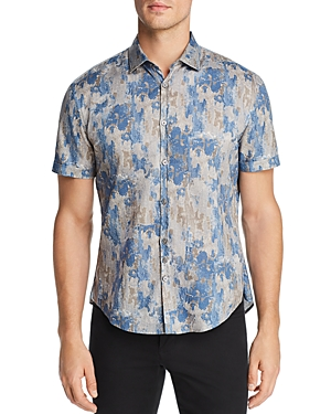 John Varvatos T-shirts SHORT-SLEEVE WATERCOLOR-PRINT SLIM FIT SHIRT
