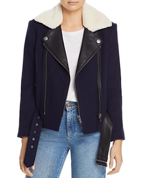 Joie - Fayana Leather-Trimmed Moto Jacket