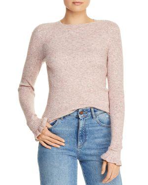 La Vie Rebecca Taylor Ruffle-Trimmed Ribbed Sweater