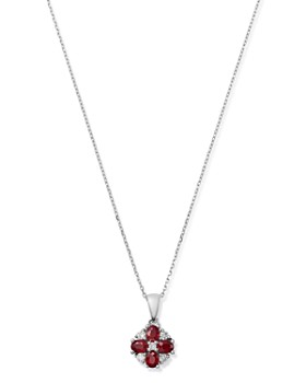 """Bloomingdale's - Ruby & Diamond Flower Pendant Necklace in 14K White Gold, 18"""" - 100% Exclusive"""