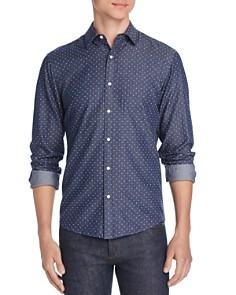 Michael Kors - Dot-Print Slim Fit Chambray Shirt
