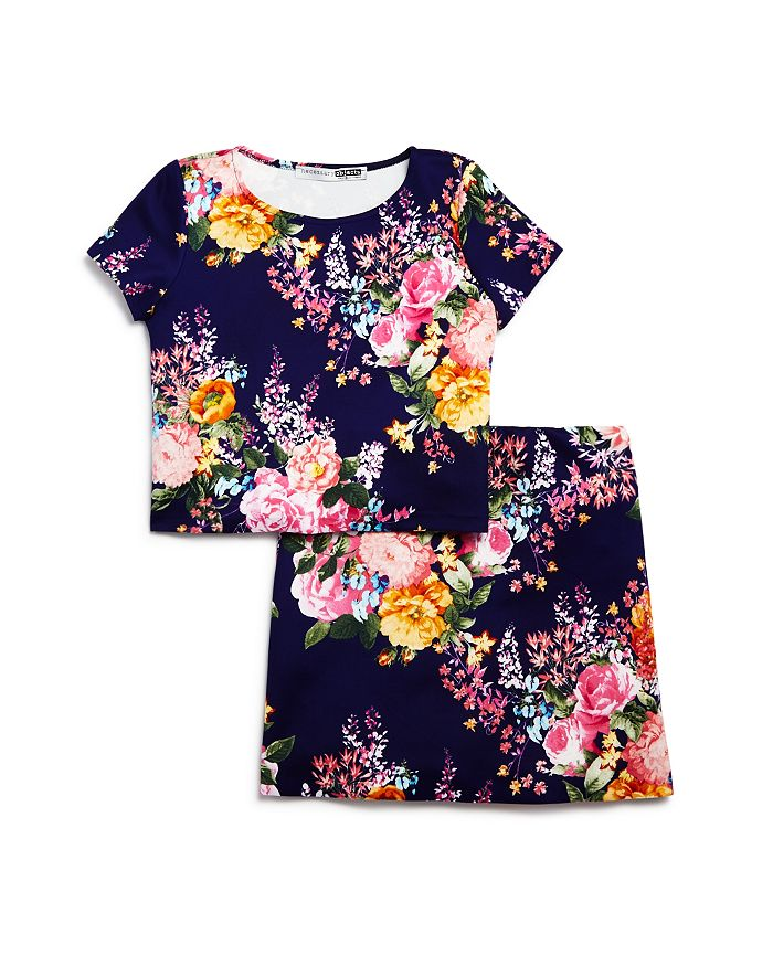 AQUA - Girls' Floral Crop-Top and A-Line Skirt - Big Kid - 100% Exclusive