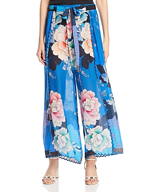 Johnny Was Tura Floral-Print Wide-Leg Pants