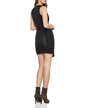 BCBGMAXAZRIA - Layla Faux Leather & Ponte Sheath Dress