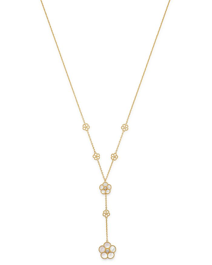 """Roberto Coin - 18K Yellow Gold Daisy Mother-of-Pearl & Diamond Y-Necklace, 16"""" - 100% Exclusive"""