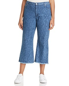 MICHAEL Michael Kors Plus - Snake-Print Cropped Flare Jeans in Light Indigo