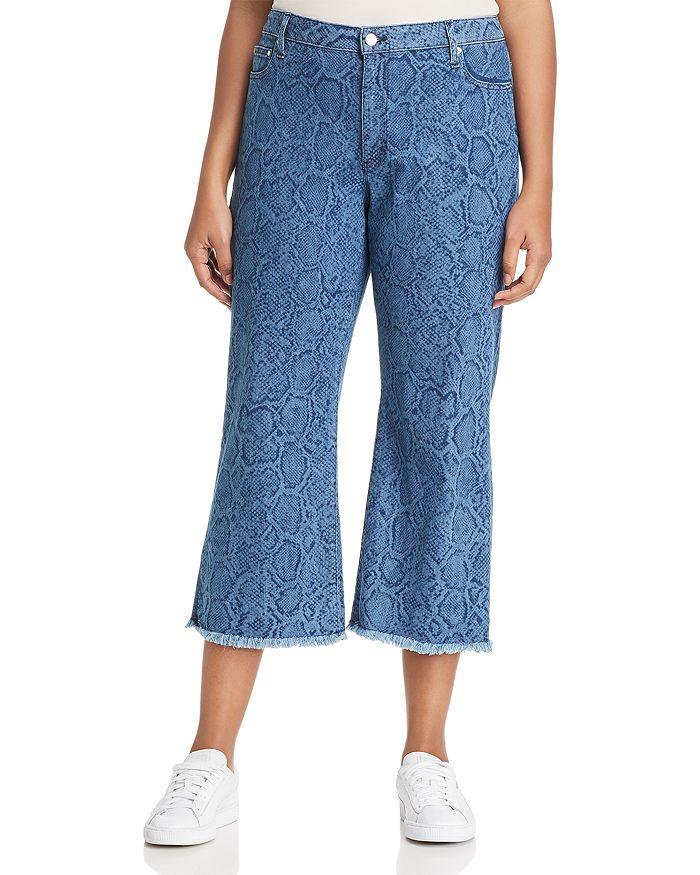 MICHAEL Michael Kors Plus - Snake-Print Cropped Flare Jeans in Light Indigo