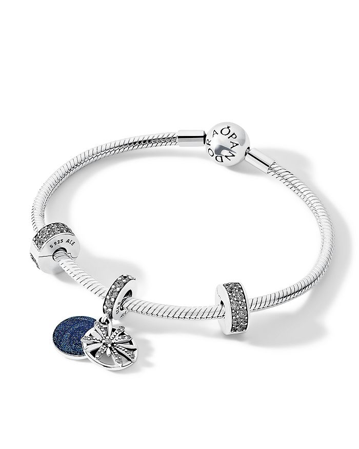 Pandora - Sterling Silver & Cubic Zirconia Dazzling Wishes Bracelet, Drop Charm & Clips Gift Set