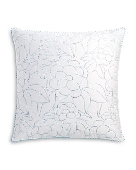 """Sky - Linear Floral Embroidered Floral Decorative Pillow, 20"""" x 20"""" - 100% Exclusive"""
