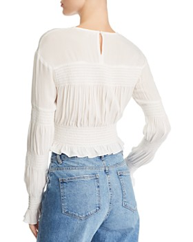 6e03ac741054a ... WAYF - Tyler Smocked Cropped Top