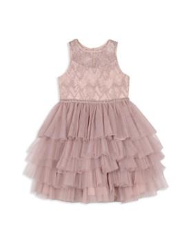 Badgley Mischka - Girls' Beaded Illusion Multi-Tier Dress - Little Kid
