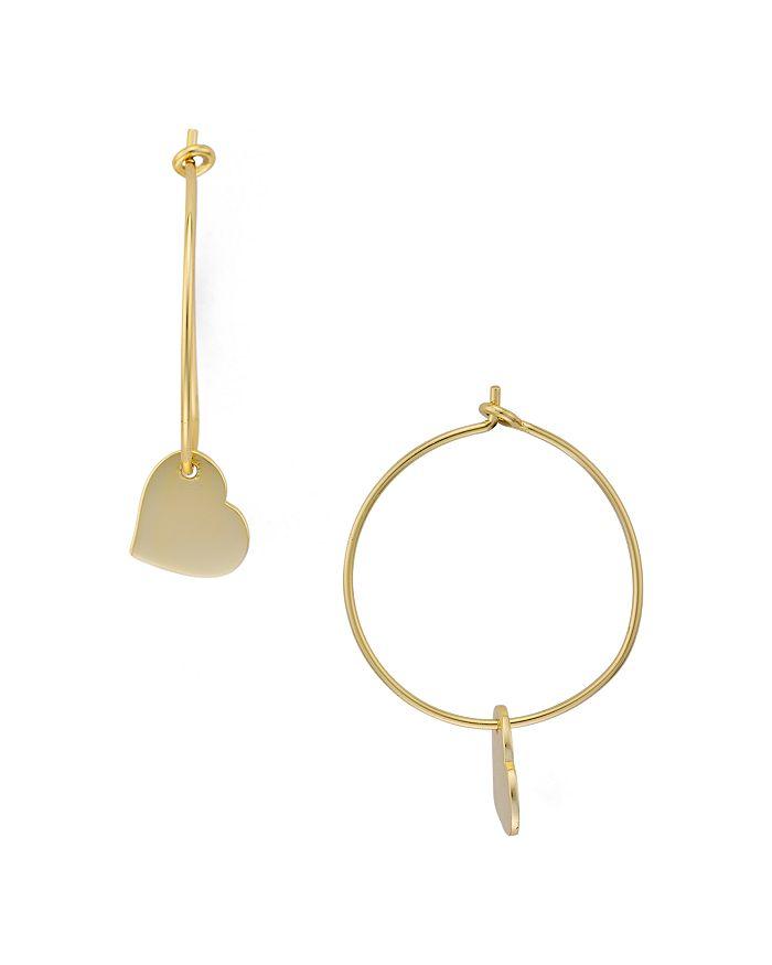 39fcb13245c71 Heart Charm Hoop Earrings in 14K Gold-Plated Sterling Silver - 100%  Exclusive