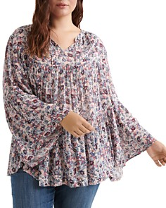 Lucky Brand Plus - Floral-Print Tiered Peasant Top