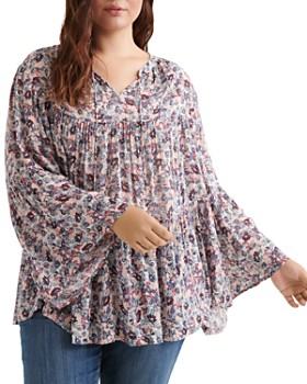 3496e7c75d88 Lucky Brand Plus - Floral-Print Tiered Peasant Top ...