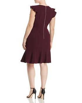 Adrianna Papell Plus - Textured Crepe Ruffle Dress