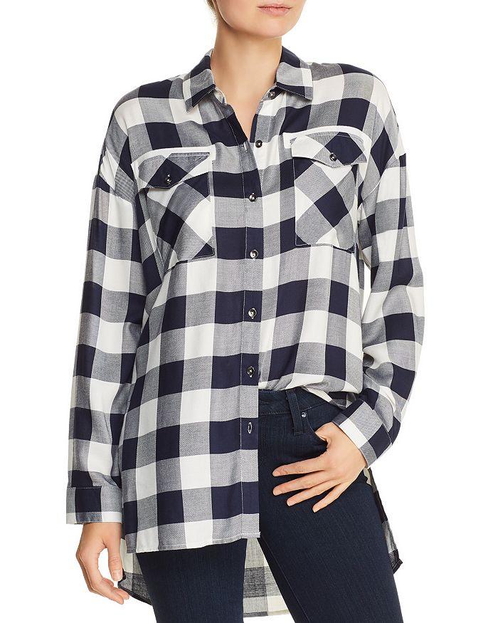 AQUA - High/Low Buffalo Plaid Shirt - 100% Exclusive
