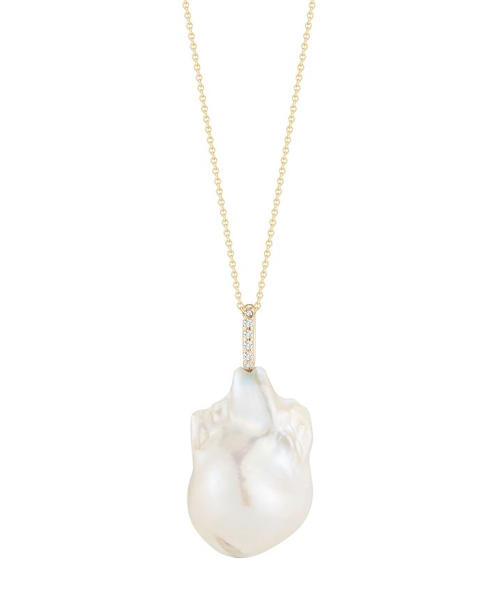 """MATEO - 14K Yellow Gold One-Of-A-Kind Baroque Pearl Necklace, 18"""""""