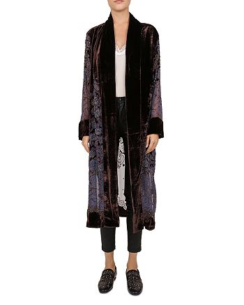 The Kooples - Beaded Floral Velvet Burnout Kimono