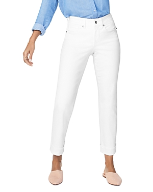 Nydj Jeans MARILYN STRAIGHT-LEG CUFFED ANKLE JEANS IN OPTIC WHITE
