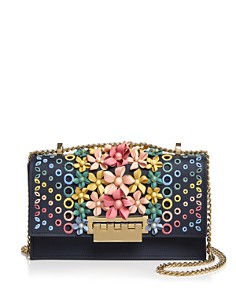 ZAC Zac Posen - Earthette Multicolored Floral Appliqué Convertible Shoulder Bag