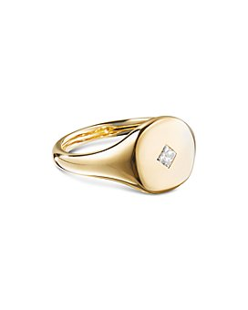 David Yurman - Cable Collectibles Princess Cut Mini Pinky Ring in 18K Gold with Diamonds