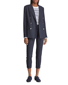 Ralph Lauren - Pinstriped Skinny Cropped Pants - 100% Exclusive