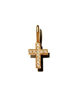 Zoë Chicco - 14K Yellow Gold Pavé Diamond Midi Bitty Cross Charm