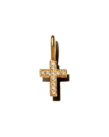 Zoë Chicco - 14K Yellow Gold Pavé Diamond Midi Bitty Cross Charm