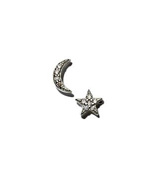 Kris Nations Star & Moon Stud Earrings in Sterling Silver