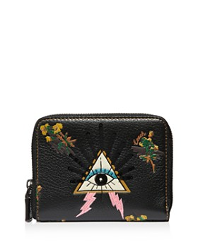 81d041bc37 COACH - Small Leather Zip Wallet with Pyramid Eye ...