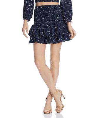 Polka Dot Smocked Mini Skirt by Bb Dakota