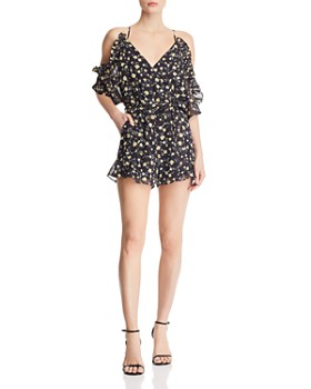 d72ce99ba932 Bardot - Poppy Cold-Shoulder Floral-Print Romper - 100% Exclusive ...