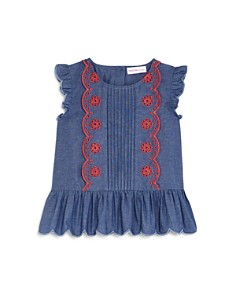 Design History - Girls' Chambray Lace Top - Little Kid
