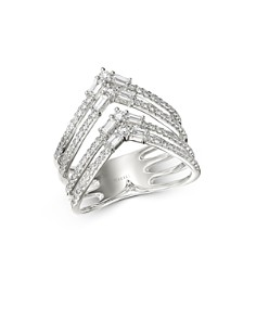 Bloomingdale's - Round & Baguette Diamond Chevron Ring in 14K White Gold, 0.75 ct. t.w. - 100% Exclusive