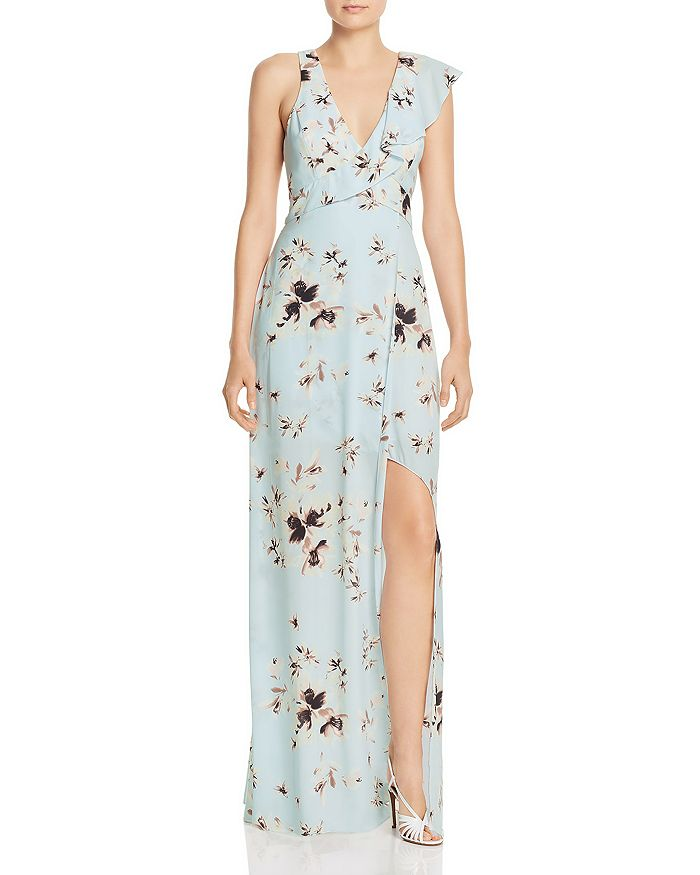 BCBGMAXAZRIA - Ruffled Floral Gown - 100% Exclusive