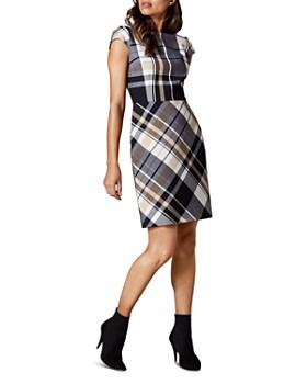 KAREN MILLEN - Cap-Sleeve Plaid Sheath Dress