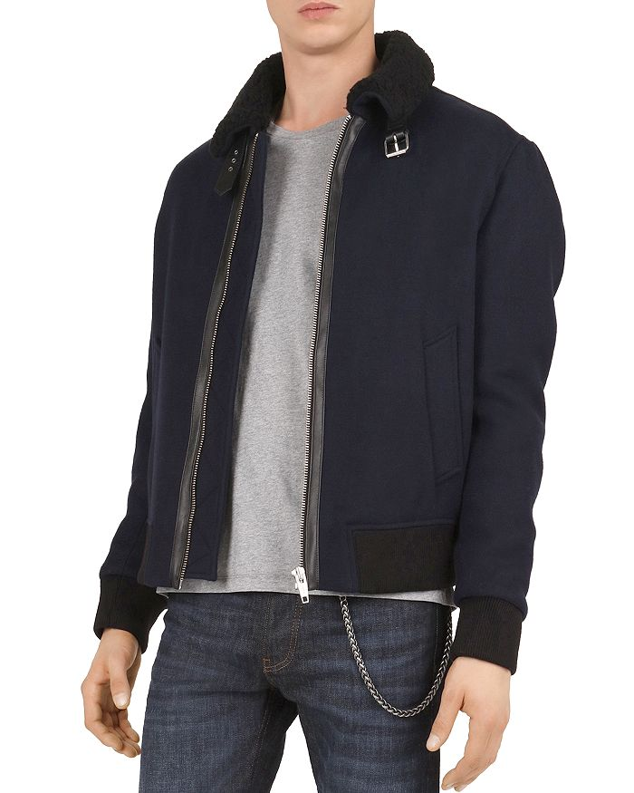 The Kooples - Doppio Jacket with Faux-Fur Collar