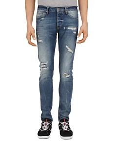 The Kooples - Distressed Slim Fit Jeans in Light Blue