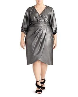 Rachel Roy Plus - Metallic Faux Wrap Dress